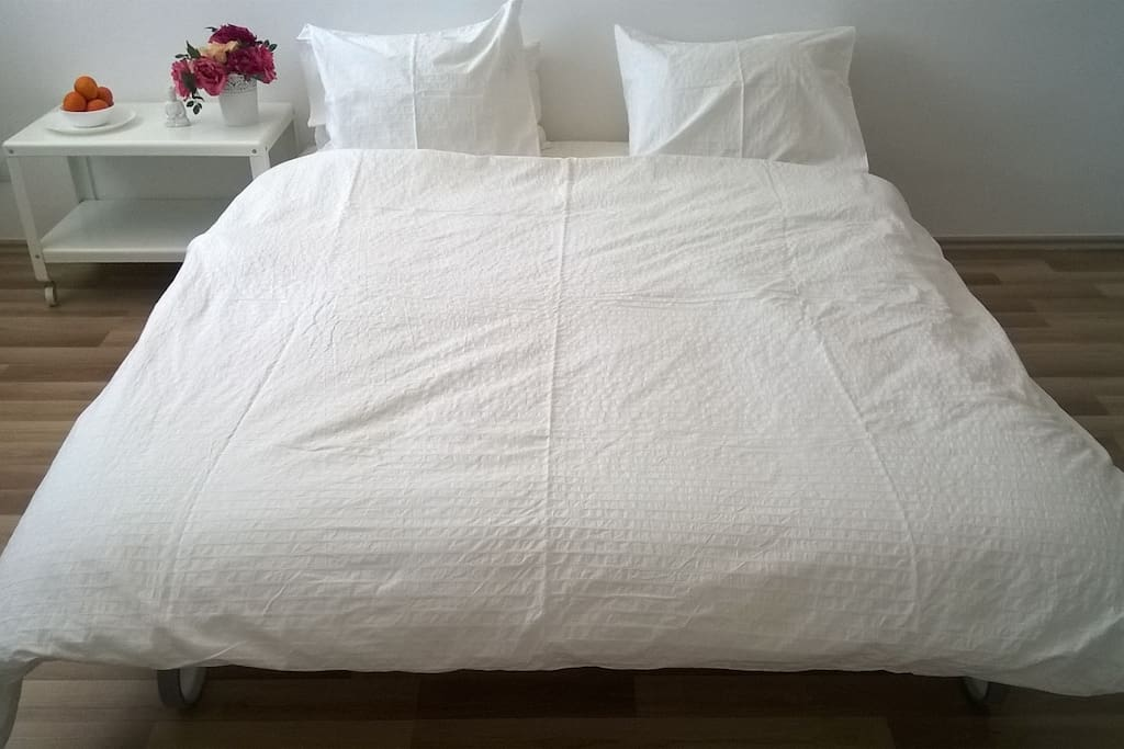 Bed number two 160 cm by 200 cm, with a very good quality mattress.