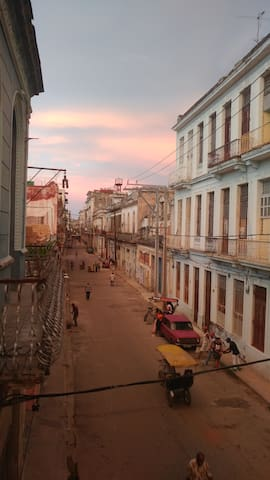 Left street view from the balcony of Ca'Sita B&B. Straight ahead is Parque Central