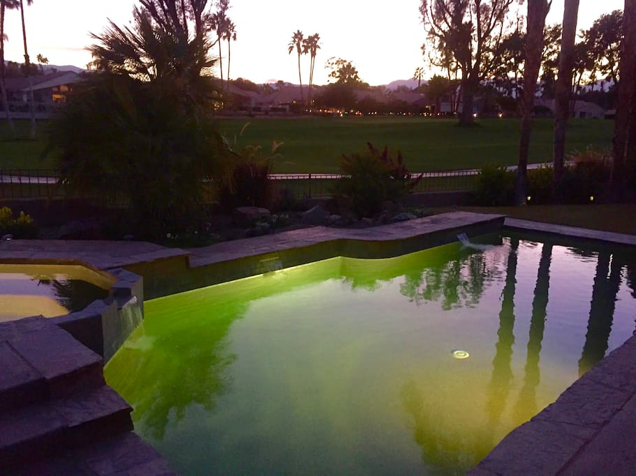 Beautiful dusk view of pool/spa, golf course, and mountains!