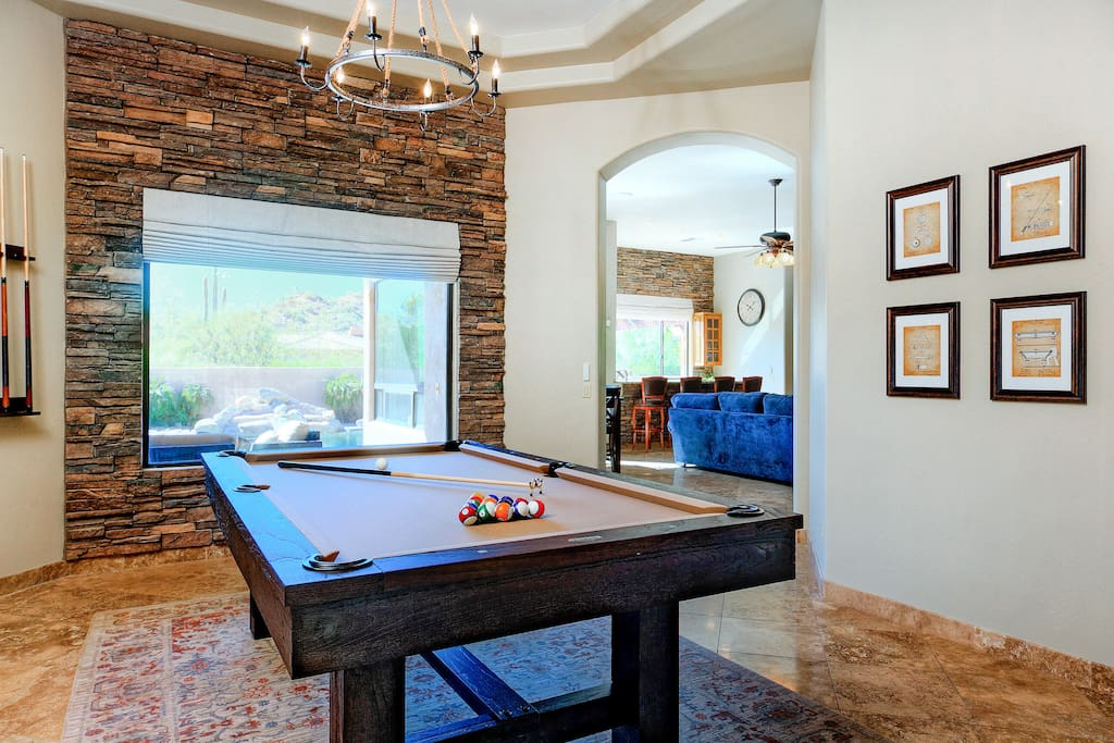 Pool table and desert views in the game room.
