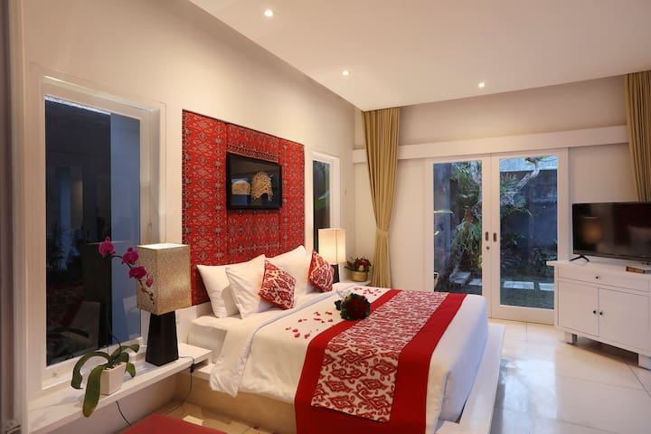 The bedroom style in romantic setting