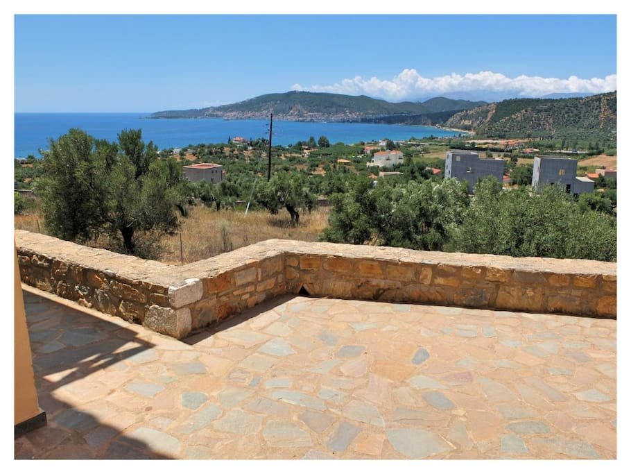 The stunning view of Gytheion Bay from the house's outside patio.