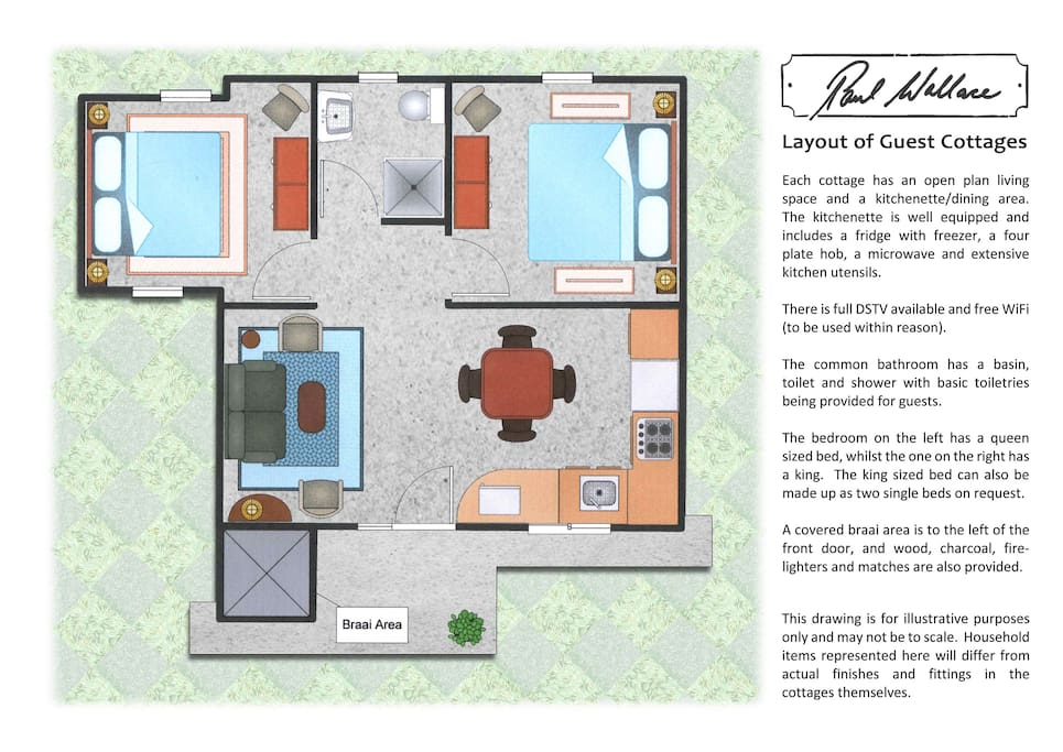 Layout of cottage.  Not to scale.