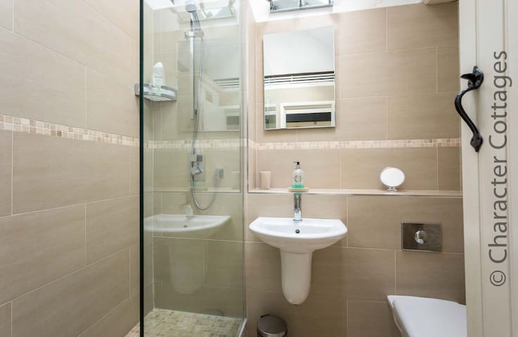 The shower room contains a walk-in shower, toilet, wash basin and heated towel rail