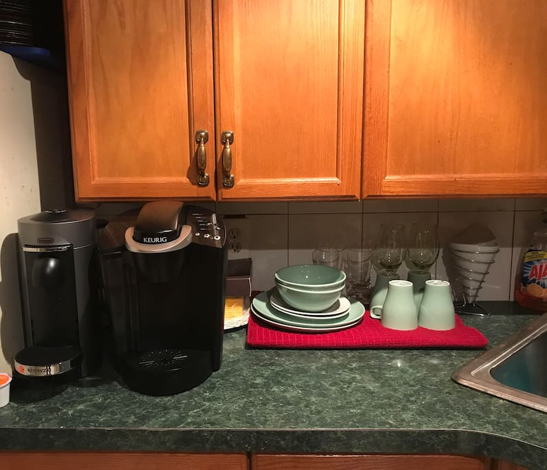Coffee, Cappucino Maker and an array of teas to start your day.