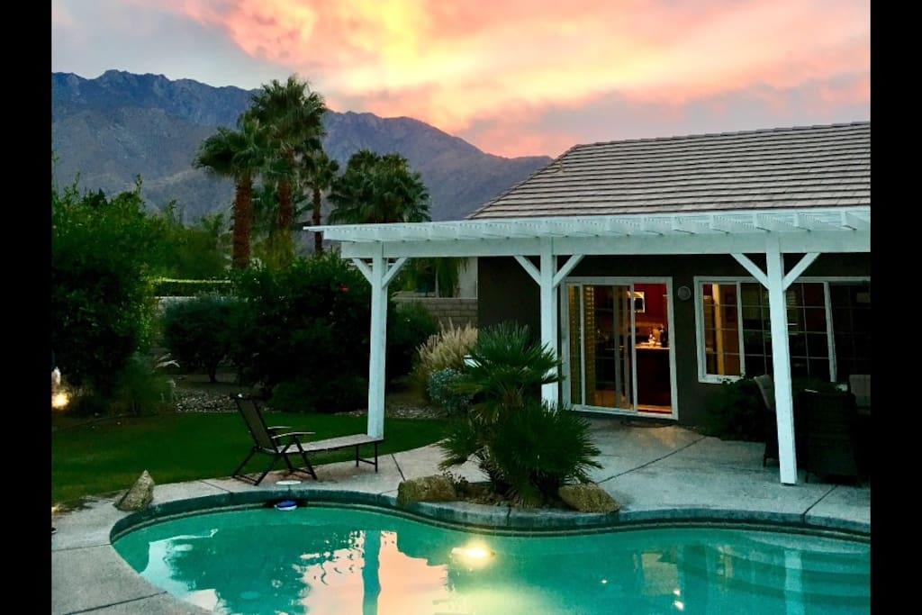 Pool and Mountain View at sunset