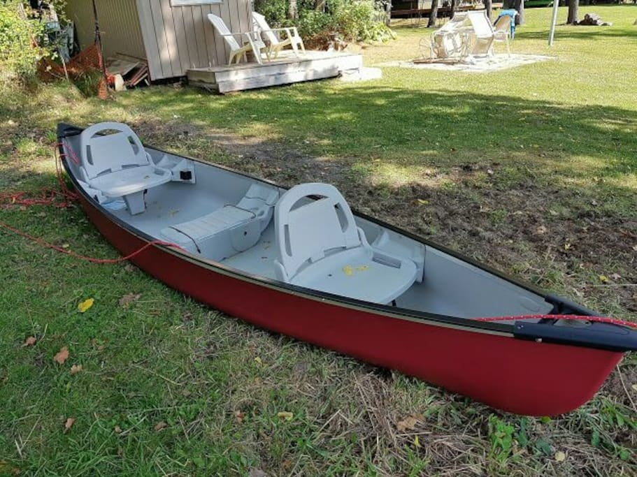 Canoe and electric bicycles available for rent.