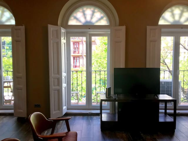 3 windows facing street in the living & dining area