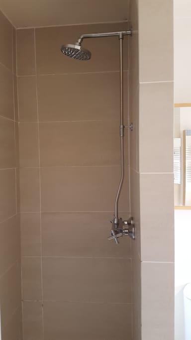 Separate walk-in shower in bathroom
