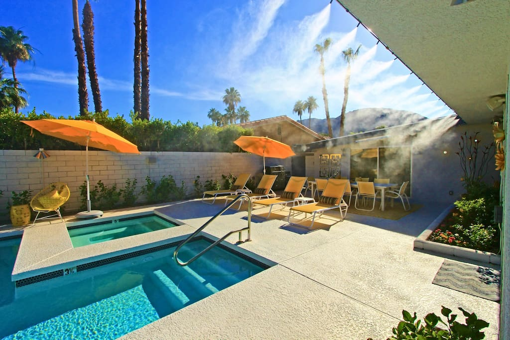 California Misters around the pool cool the air by 20 degrees in summer