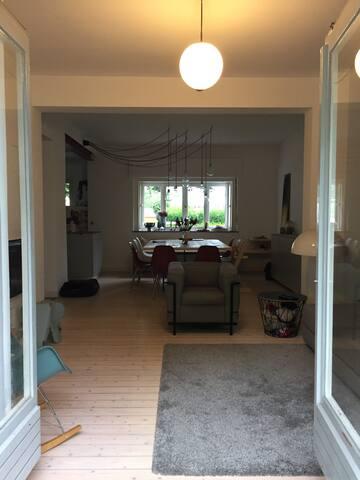 Blick von der Terrasse in das Wohnzimmer/Esszimmer