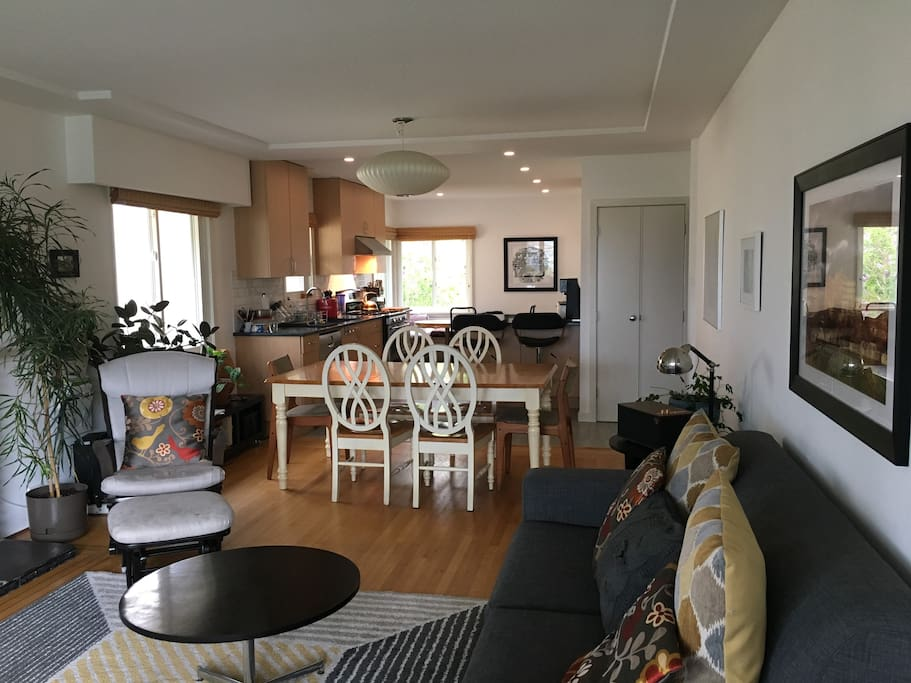 Large, bright, open-concept living room and kitchen, newly renovated.