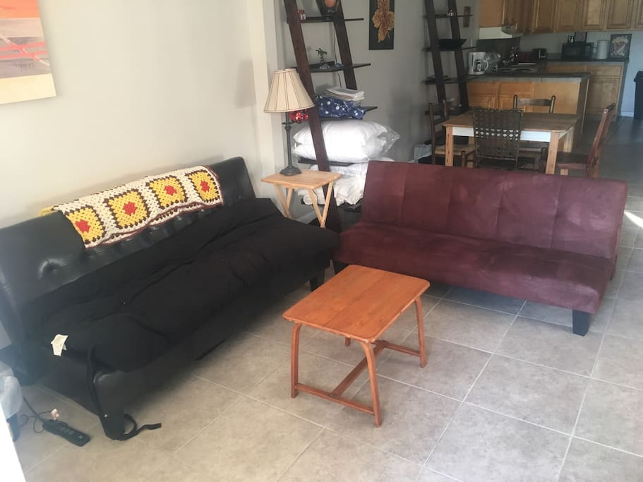 Livinroom with two fold flat couches