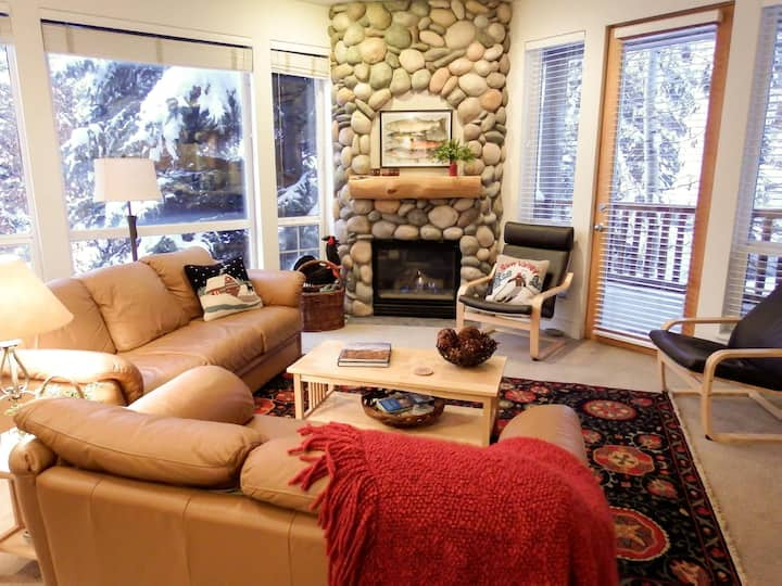 Charming Corner Condo with Wifi and mountain views; short walk to ski lifts