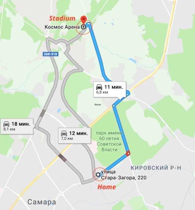 Map N2 road from home to station