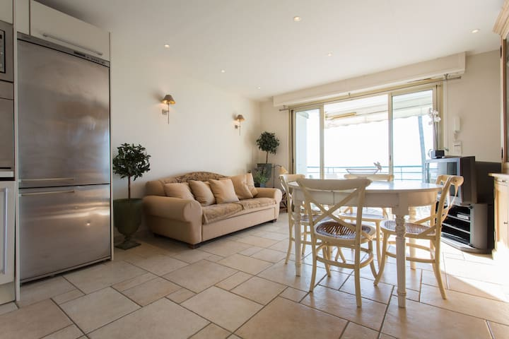 salon donnant sur la terrasse devant la plage avec canapé lit très confortable ( matelas haut de gamme marque bultex)