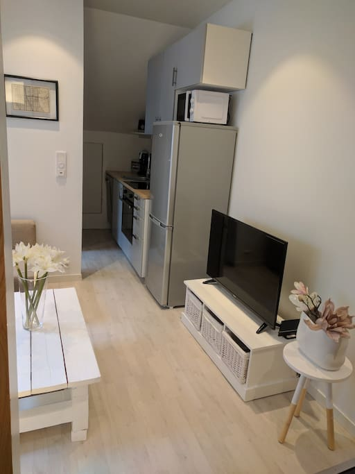 TV and kitchen corner
