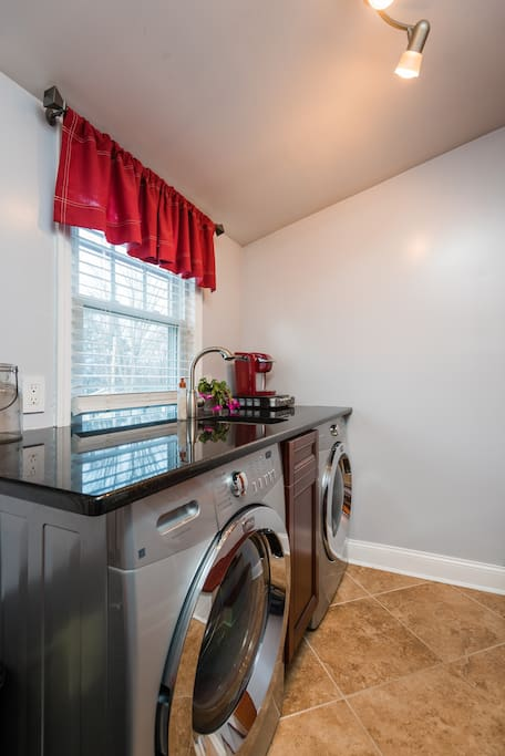What every great apartment should have, a full washer, dryer, and a bar sink. Full granite counter for folding laundry.