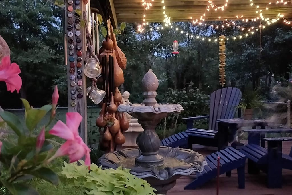 One of our guests took this picture of our back deck in the evening.