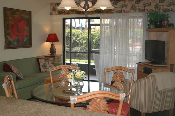 Living room and dining room with sliding glass doors to screened lanai