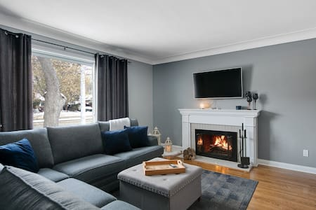 Cozy natural fireplace in this renovated 2 BR unit