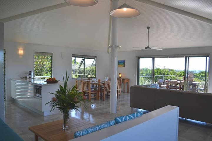 Upstairs open living area in one of the beach houses.
