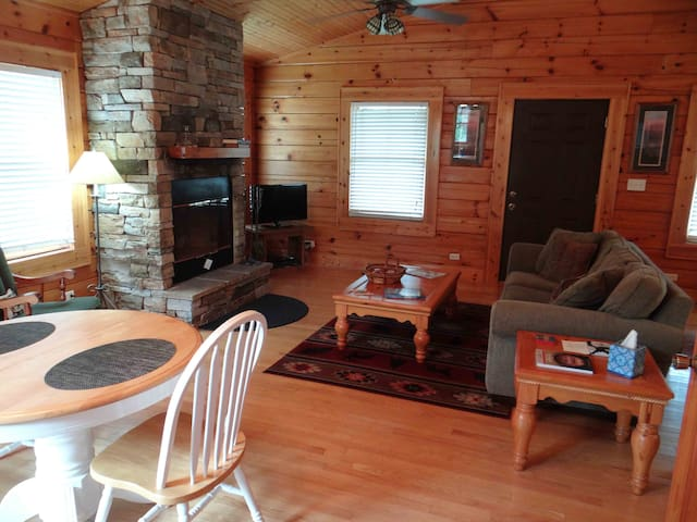 This is the living room and dining area of the Cherokee Cabin.