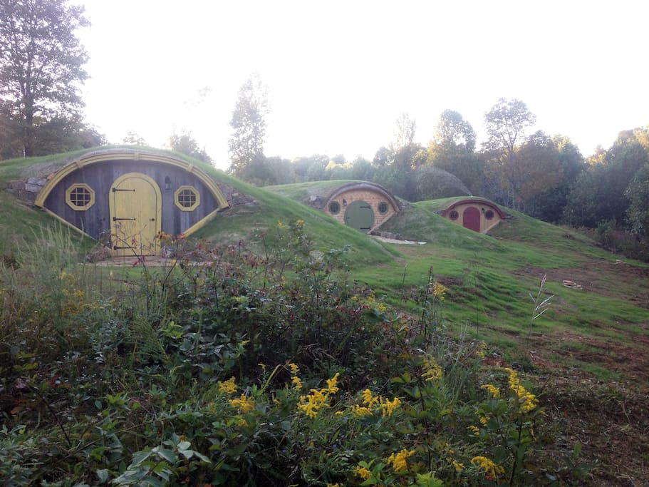 The Gully huts! Yellow (sleeps 3-4), Green is the kitchen gathering hut and Red (sleeps 4)