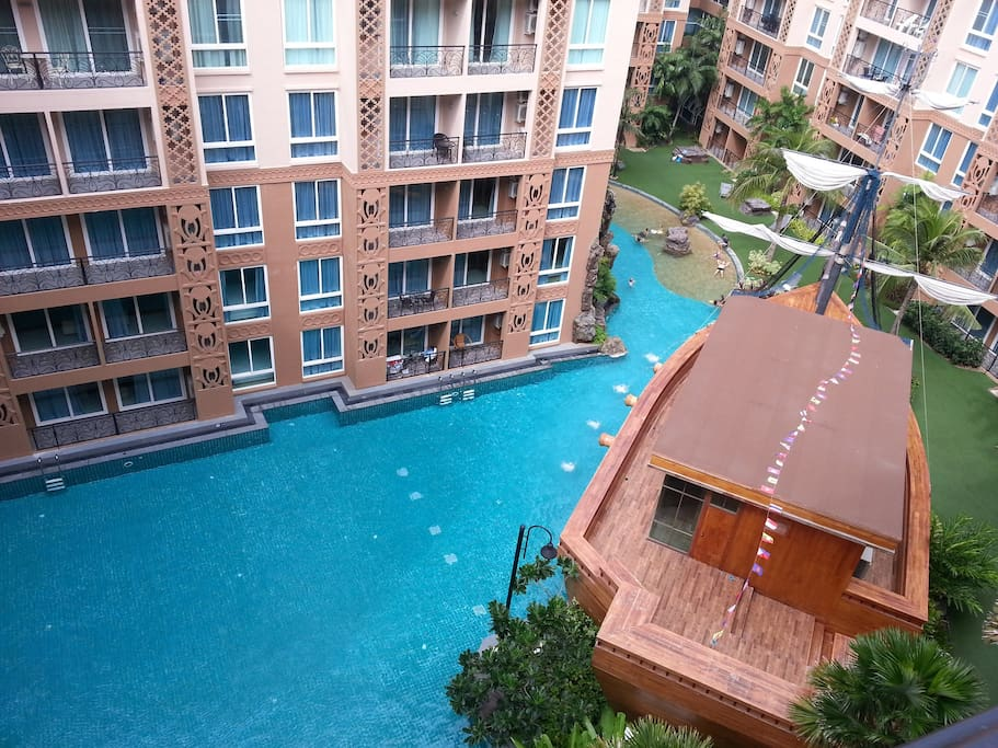 View of pool area from balcony (7th floor)