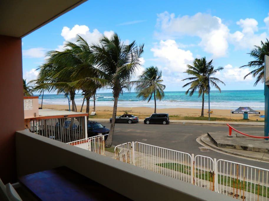 View from Balcony overlooking La Pared the Surfing Beach