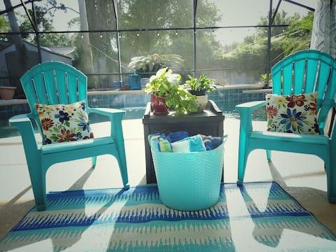Pool Home, master suite & pvt bath!