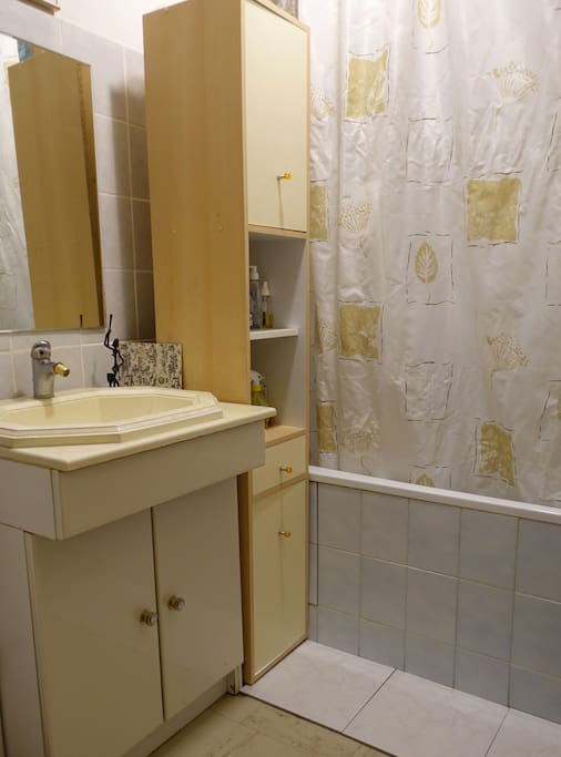 Small bathroom with shower in tub.