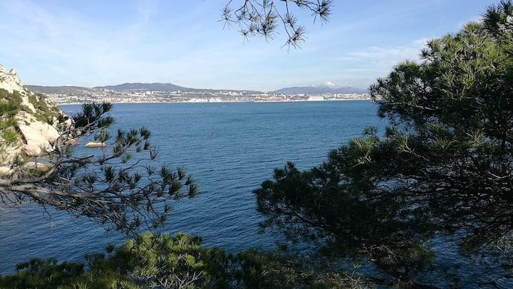 L'Esprit Calanque, vue mer, 2pers, 80m de la plage