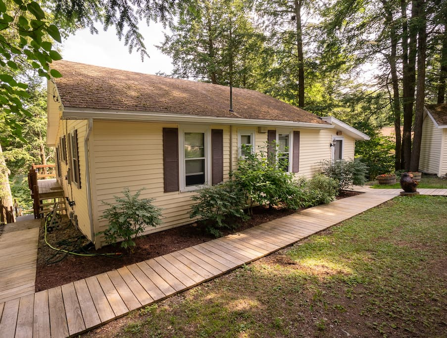 The cottage features a smooth easy walkway to the dock.