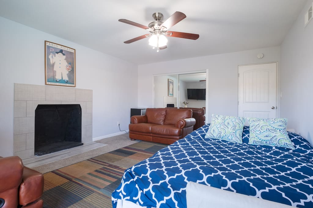Queen size sofa bed fully opened, large screen TV with cable, Netflix, Prime and More.