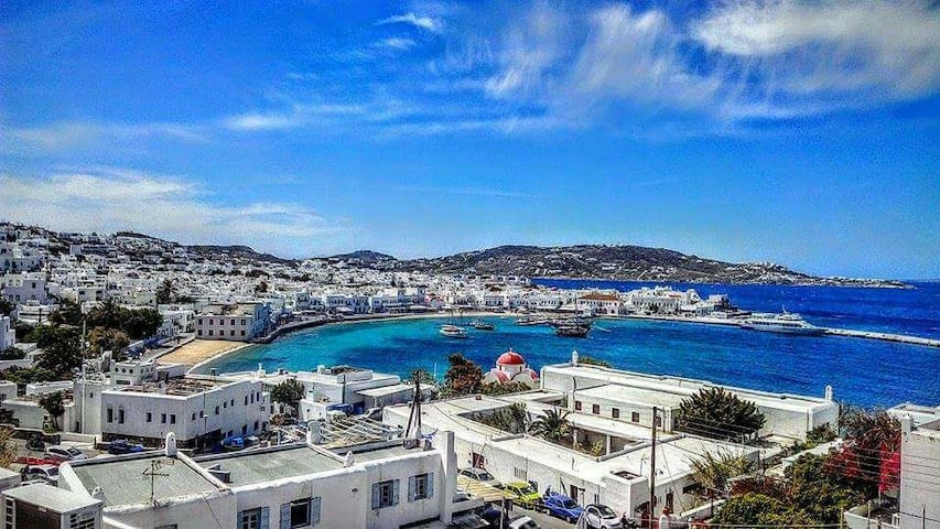 Great room in town stelios view- - Mikonos