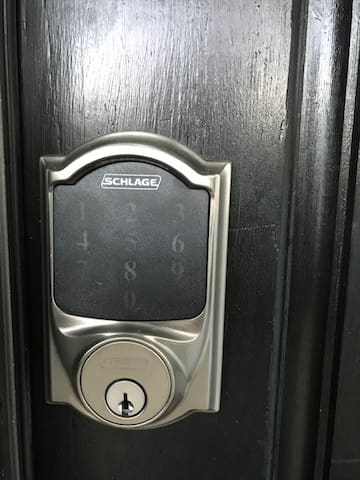 Keypad entry allows you to come and go without the bother of carrrying a key.