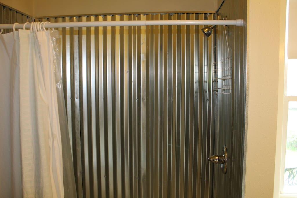 Walk in shower in shared bathroom