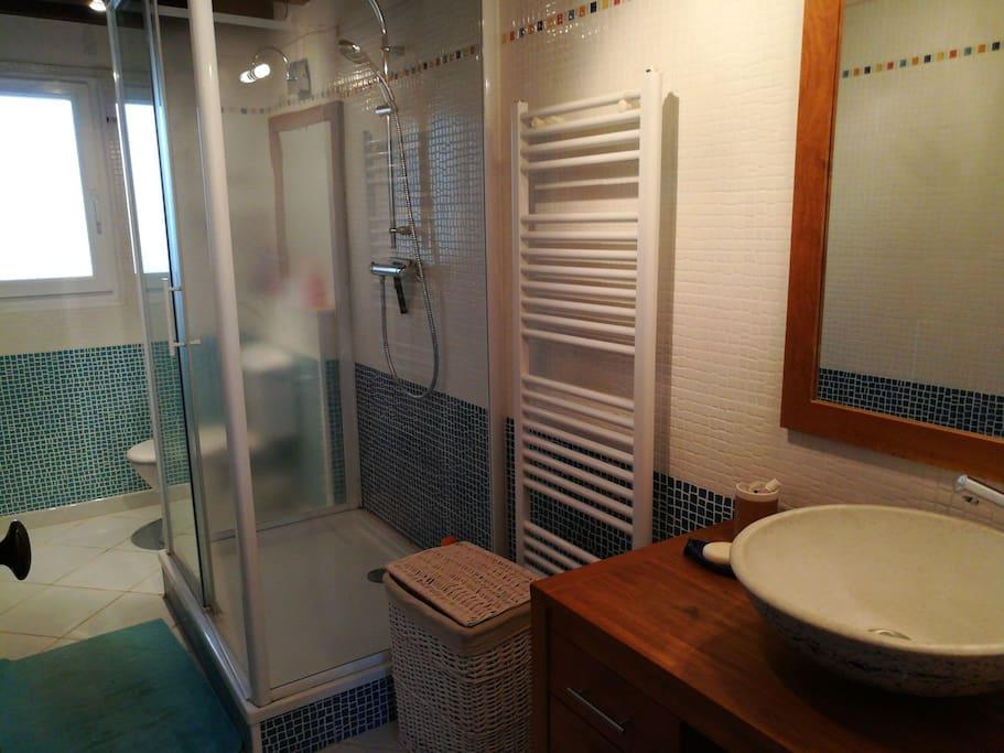 Salle de bain privée avec douche et WC.