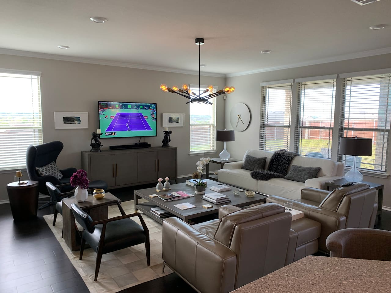 "Open, large living area with 65"" tv and Sonos bar"