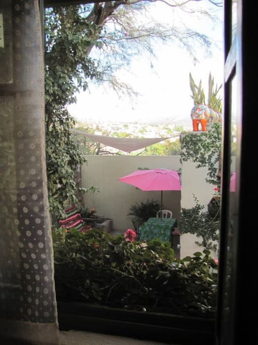 The view from your casita toward San Miguel and the lower part of the shared patio.