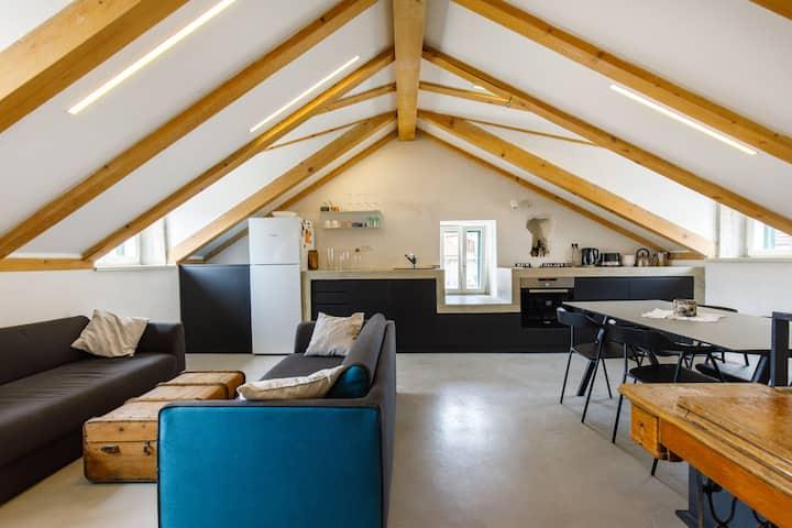 Modern design in old stone house /w Garden