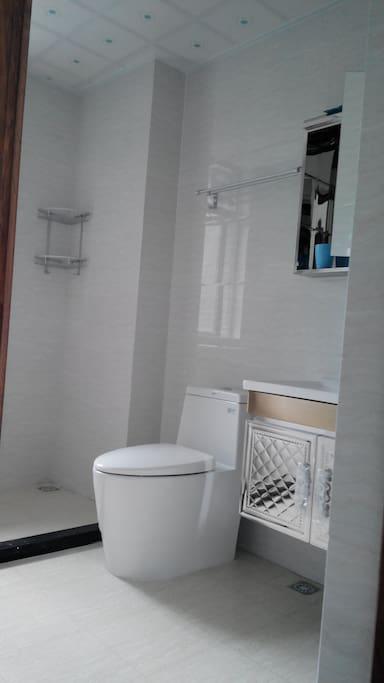 主卧套间洗手间-恒洁马桶,带镜洗手台及恒洁花洒