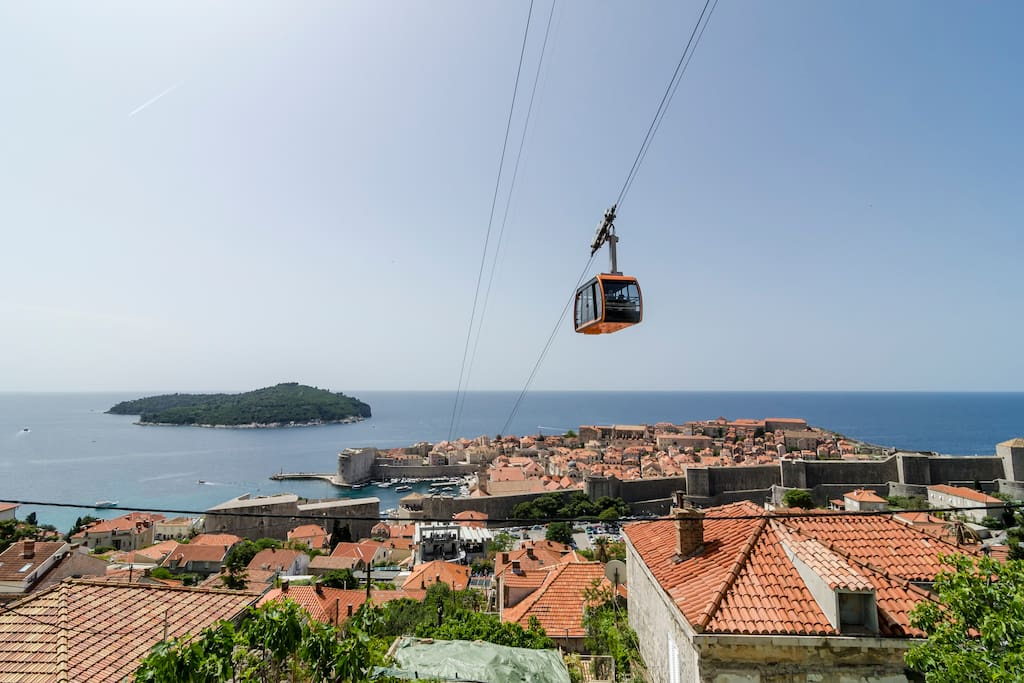 The view of the Old Town Dubrovnik and island Lokrum