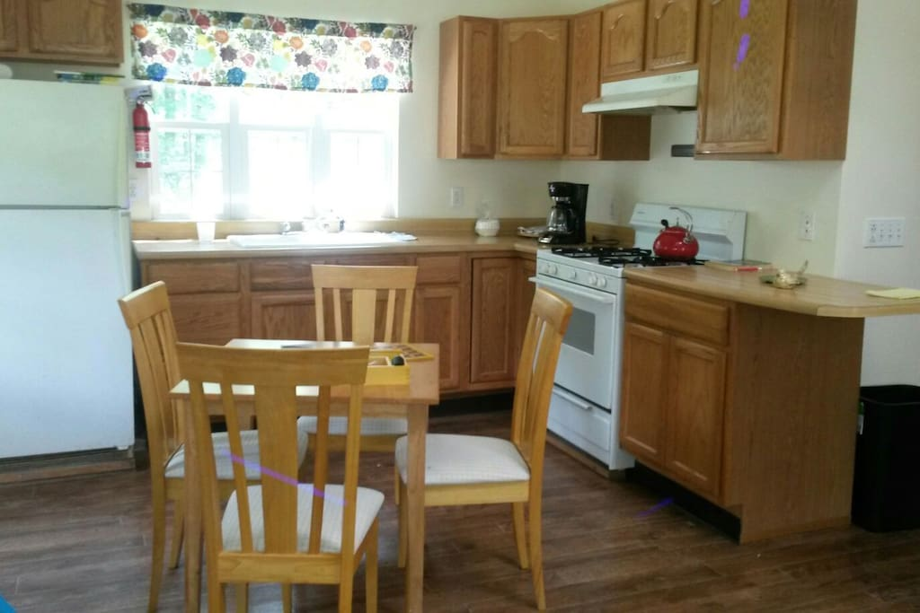 The cottage has a full kitchen.