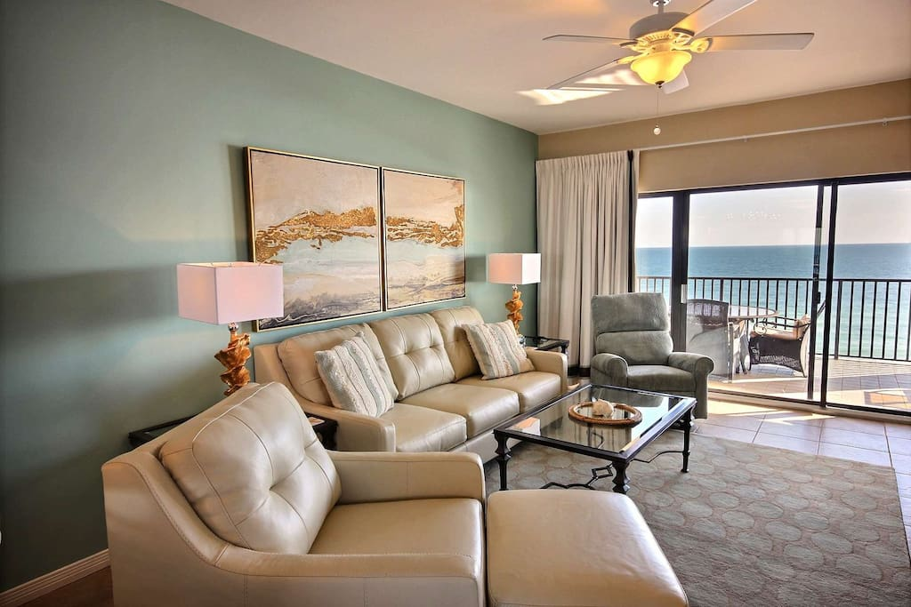 Living room overlooking Gulf-front balcony