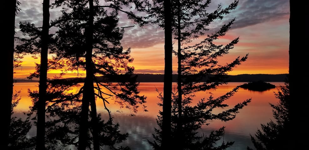 Sunset from the cabin - Skagit Bay and Whidbey Island