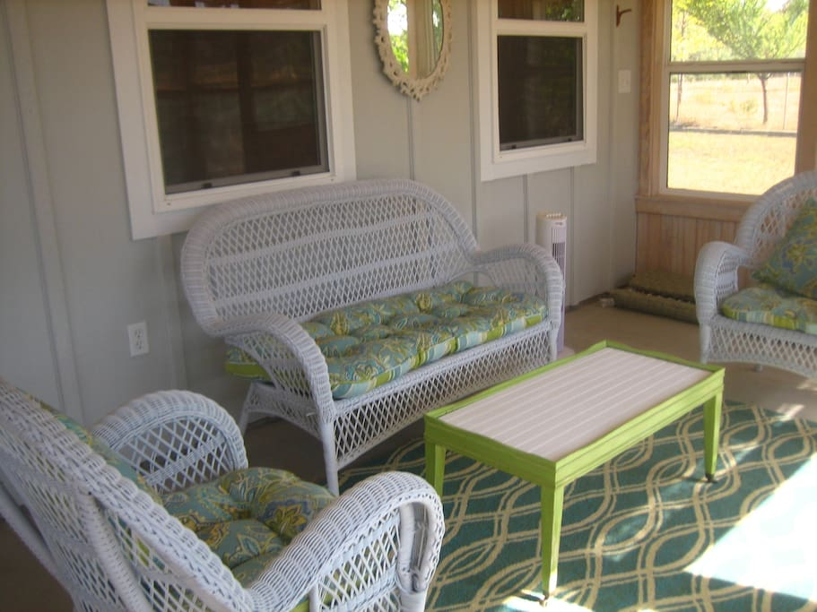 Seating area in enclosed porch