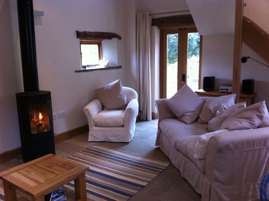Lounge with wood burning stove