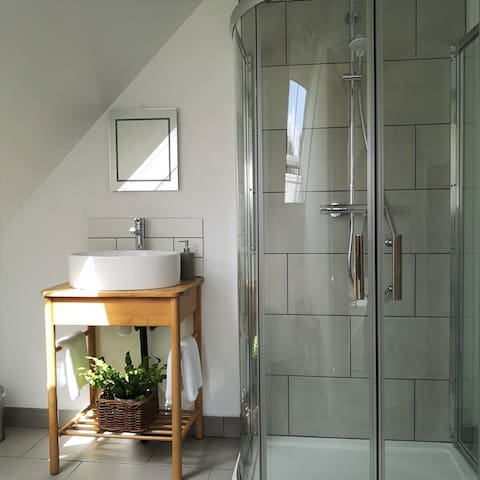 Bathroom with shower toilet and sink
